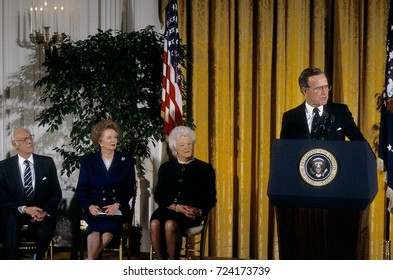 Washington DC.  USA, 7th March, 1991 President Bush awarded the Presidential Medal of Freedom to Margaret Thatcher, former Prime Minister of Great Britain, in a ceremony at the White House