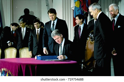 Washington DC. USA, 8th December, 1993 President William Jefferson Clinton signs the North American Free Trade Agreement.