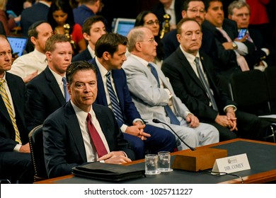 Washington DC, USA 8th June, 2017  Former FBI Director James Comey responds to questions from various Senators of the Senate Intelligence Committee during his testimony in front of the Committee today
