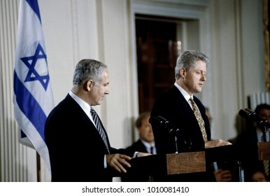 Washington, DC. USA, 9th July 1996  Israeli Prime Minister Benjamin Netanyahu is joined at the podium by President William Clinton during a joint news conference in the East Room of the White House.