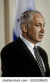 Washington, DC. USA, 9th July 1996  Israeli Prime Minister Benjamin Netanyahu answers reporters questions during a joint news conference with President WIlliam Jefferson Clinton in the White House