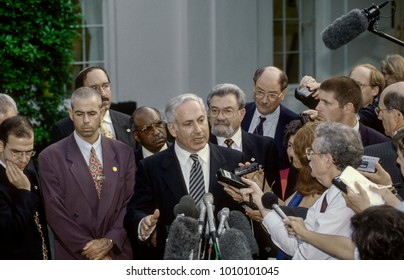 Washington DC. USA, 9th July, 1996  Israeli Prime Minister Benjamin Netanyahu speaks with reporters in the West Wing driveway of the White House during his visit to meet with President William Clinton