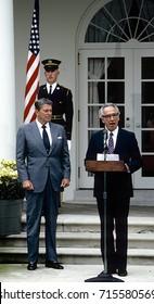 Washington DC. USA, 9th October, 1984President Ronald Reagan meets with Israeli Prime Minister Shimon Peres in the Rose Garden.
