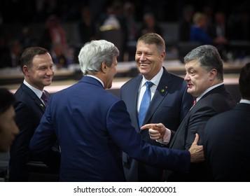 WASHINGTON D.C., USA - Apr 01, 2016: President of Ukraine Petro Poroshenko, President of Poland Andrzej Duda, Romanian President Klaus Werner Iohannis and John Kerry at the Nuclear Security Summit