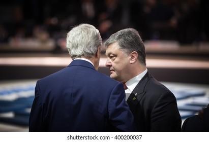 WASHINGTON D.C., USA - Apr 01, 2016: President of Ukraine Petro Poroshenko and US Secretary of State John Kerry at the Nuclear Security Summit in Washington.