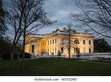 WASHINGTON D.C., USA - Apr 01, 2016: The White House in the evening. Washington DC, United States