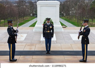 WASHINGTON DC, USA - APRIL 01, 2018: Changing of the Guard at Tomb of the Unknowns, Arlington National Cemetery. The guard change is very symbolic, respectful, and quiet