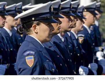 Washington, DC USA - April 05, 2009: US Coast Guard members preparing for drill during the National Cherry Blossom Festival parade