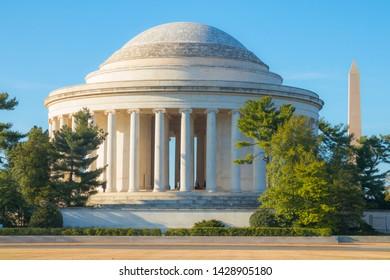 Washington, DC, USA – April 1, 2019:  Jefferson memorial with Washington Monument in background