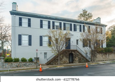 Washington, DC, USA -- April 1, 2017: Secret Service has closed off parking on the street in front of the home of Ivanka Trump and Jared Kushner.