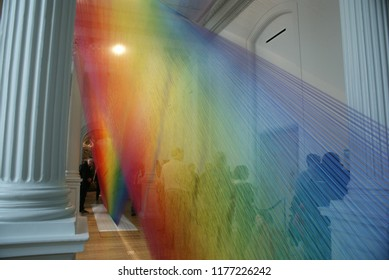 WASHINGTON, D.C. (USA) - April 10, 2016. A colorful art installation on display at the Renwick Gallery in the Nation's capital. The Plexus A1 was created by Contemporary artist Gabriel Dawe.