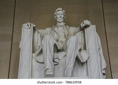 Washington, DC / USA - April 10, 2017: The Lincoln Memorial watches over the National Mall in Washington, DC, spring of 2017