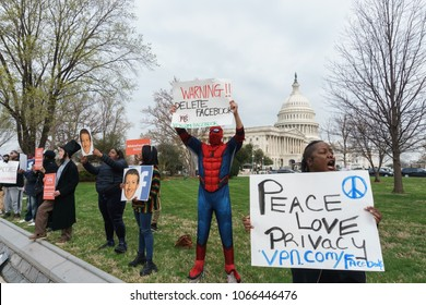 Washington, DC / USA April 11, 2018: Anti-Facebook protesters await the arrival of Mark Zuckerberg on Capitol Hill for another day of testifying.