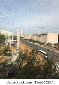 Washington DC USA – April 11, 2019: Work continues on the Eisenhower memorial.