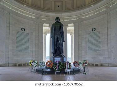 Washington, DC / USA - April 14, 2019: in honor of President Thomas Jefferson's birthday, wreaths wereplaced around his statue in the Jefferson Memorial.