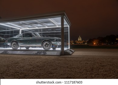 Washington DC, USA - April 17, 2018: '68 Ford Mustang GT fastback Bullitt sports car on the Washington Mall. Shown as a part of the 2018 Cars at the Capitol HVA exhibit.