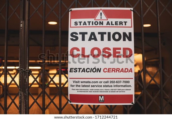 Washington, D.C. / USA - April 19, 2020: The Smithsonian Metro Station on the National Mall is closed to prevent tourists from going downtown during the COVID-19 pandemic in the city.