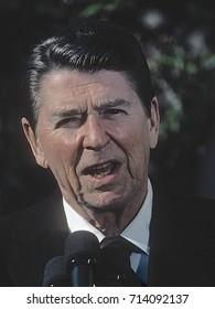 Washington DC. USA, April, 1984 President Ronald Reagan in the rose garden April 1984.