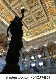 Washington, DC, USA April 2, 2018 Statue of Knowledge stands in the main lobby of the Library of Congress in Washington, DC