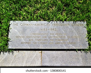 Washington, DC / USA - April 2019: Plaque commemorating German-American friendship at the German American Friendship Garden on the National Mall in downtown Washington DC.