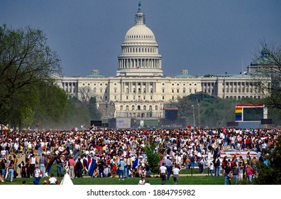 Washington DC, USA, April 25, 1993 Hundreds of thousands of LGBT people march past the White House  Thousands gather on the national mall to hear speakers at the Capitol