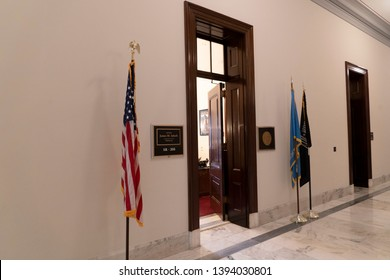 WASHINGTON DC, USA - APRIL 29 2019 - Interior of Russel Senate Bulding in front of Capitol congress detail of Senator Room open to public