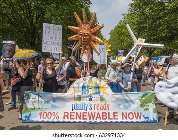 WASHINGTON, DC, USA - APRIL 29, 2017: Climate March demonstrators protest.