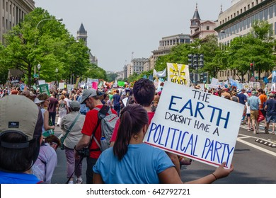 WASHINGTON, DC, USA - April 29, 2017. Protesters at the People's Climate Change March. The march started at the U.S. Capitol and proceeded up Pennsylvania Avenue to the White House.
