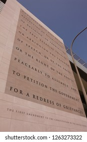 WASHINGTON, DC, USA - APRIL 30, 2008: Newseum, an interactive museum of news. The exterior includes a 74 foot high marble engraving of the First Amendment.