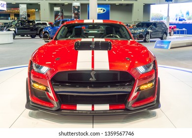 Washington, DC / USA - April 4, 2019: At the Washington, DC Auto Show, a prototype Ford Mustang GT500 is on display, complete with among the industry's first standard carbon-fiber wheels.