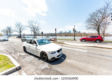 Washington DC, USA - April 5, 2018: Rock Creek Park Parkway highway road street with Potomac River water, in spring, cars in traffic