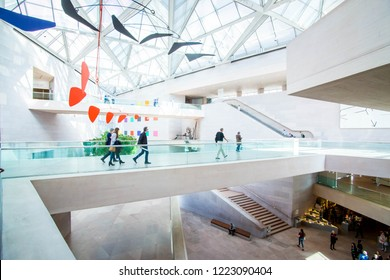WASHINGTON, D.C U.S.A - APRIL 6 2018: National Gallery of Art East Building. The hot spot for contemporary art, architecture and culture. A must see when visiting nation's capital.