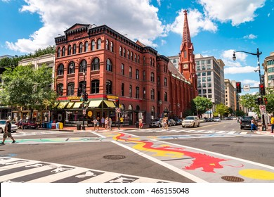 WASHINGTON DC, USA - AUGUST 07, 2016: Chinatown streets displaced along Pennsylvania Avenue by the development of the Federal Triangle government office complex.
