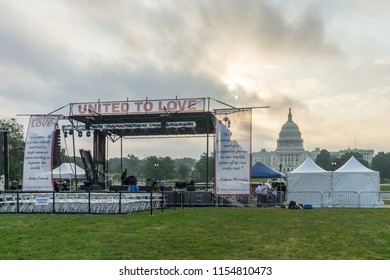 Washington, DC / USA - August 12, 2018: United to Love, a gathering of peace, love and tolerance, was occurring on the National Mall while the Unite the Right event and counter-protests were happening