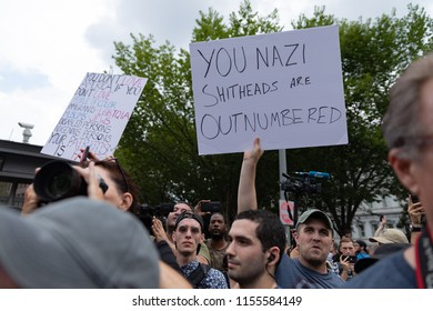 Washington D.C. / USA — August 12, 2018: White nationalist counter-protestors express anger during Unite the Right rally in Washington D.C. Editorial Use Only.