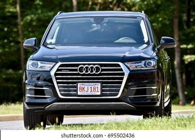 WASHINGTON DC, USA - AUGUST 13, 2017: A black Audi Quattro Q7 SUV parked on the street.