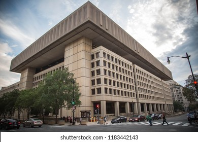 Washington DC, USA - August 14, 2018: The J. Edgar Hoover Building is a low-rise office building located on Pennsylvania Avenue in Washington, D.C. It is the headquarters of the FBI