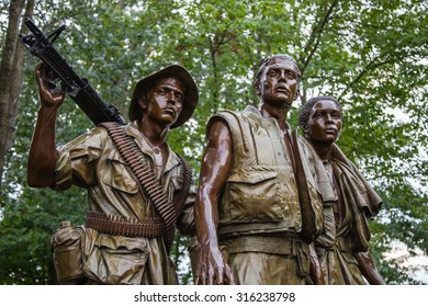 WASHINGTON DC, USA - August 17, 2012: Close-up of 'The Three Soldiers' statue by Frederick Hart. Located in the Vietnam Veterans Memorial in Washington DC