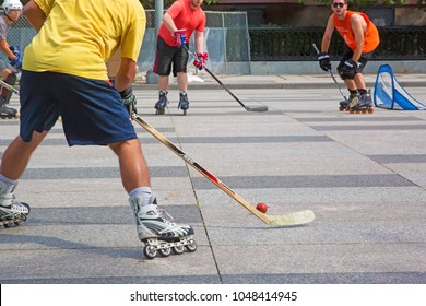 Washington DC, USA - August 2015: Roller in-line hockey in Washington downtown. Two teams playing outdoor, very close to the White House.