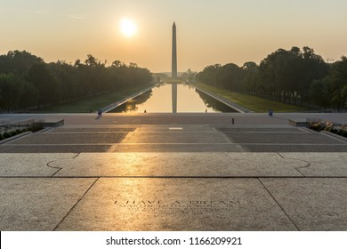 "Washington, DC / USA - August 28, 2018: on this day in 1963, as part of the March on Washington, Martin Luther King Jr. gave his ""I Have a Dream Speech"" on this spot at the Lincoln Memorial."