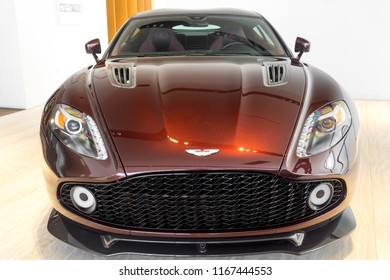 Washington, DC / USA - August 29, 2018: an incredibly rare, 1 of 99, Aston Martin Vanquish Zagato is on display just outside Washington, DC.