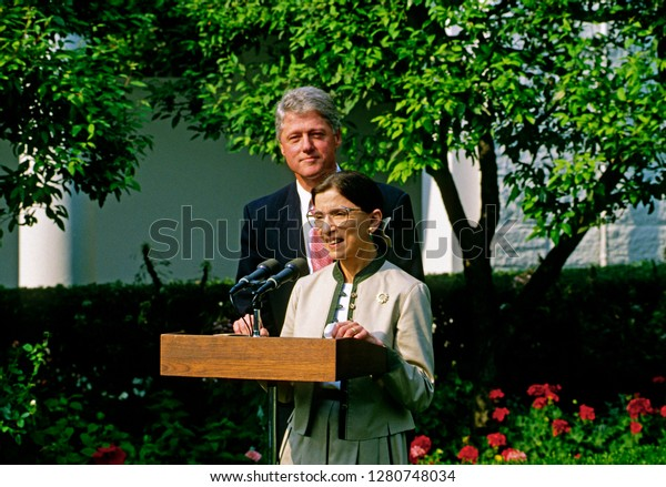 Washington, DC. USA, August 3, 1993 Newly confirmed by the Senate Judiciary committee Ruth Bader Ginsburg Associate Justice of the Supreme Court speaks to the news media in the White House Rose Garden