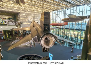Washington, DC / USA - August 30, 2019: The North American X-15 rocket-powered spacecraft -- one of three ever produced -- has been removed from the Air&Space Museum while the museum gets renovated.