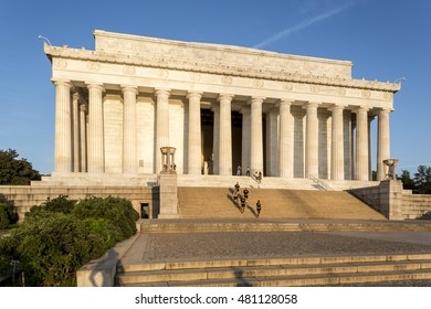 WASHINGTON DC, USA - AUGUST 30: The neoclassic architecture of the Lincoln Memorial in Washington DC, USA on a sunny morning with locals and tourists pay a visit to it on August 30, 2016.