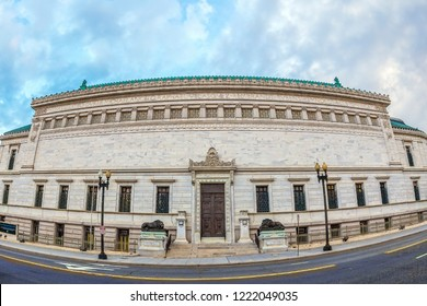 WASHINGTON DC, USA - AUGUST 31,2018: Facade of the Corcoran Gallery of Art with the Canova Lions in front. They are copies of lions sculpted by Antonio Canova in 1792 for the tomb of Pope Clement XII
