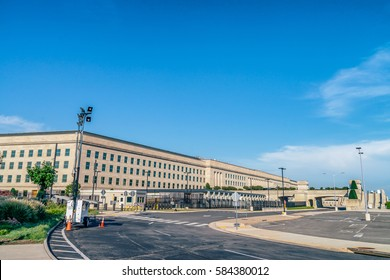 WASHINGTON DC, USA - AUGUST 8, 2016: The Pentagon is the headquarters of the United States Department of Defenses one of the world's largest office buildings designed by architect George Bergstrom
