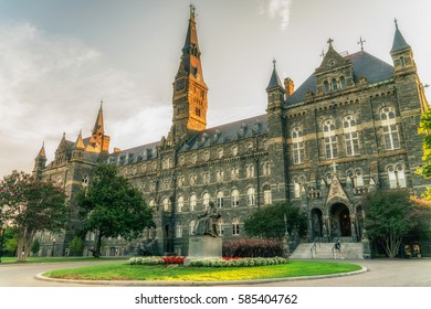 WASHINGTON DC, USA - AUGUST 8, 2016: Territory of Georgetown University, private research university - the oldest Catholic and Jesuit-affiliated institution of higher education in the USA.