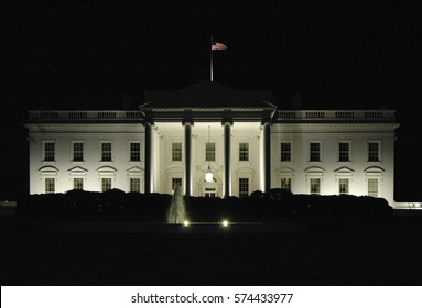 WASHINGTON, D.C., USA - CIRCA 2016: The White House in Washington, D.C., the official residence and principal workplace of the President of the United States, captured at night.