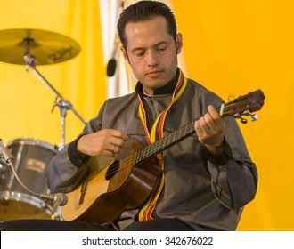 WASHINGTON, DC, USA - CIRCA JUNE 2004: Grupo Cimarron de Colombia, from Bogota, Colombia, performing at the Smithsonian Folklife Festival.