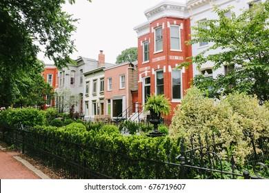 WASHINGTON D.C., USA - CIRCA MAY 2017: Colorful row houses on Capitol Hill, a historic residential neighborhood in Washington, D.C.